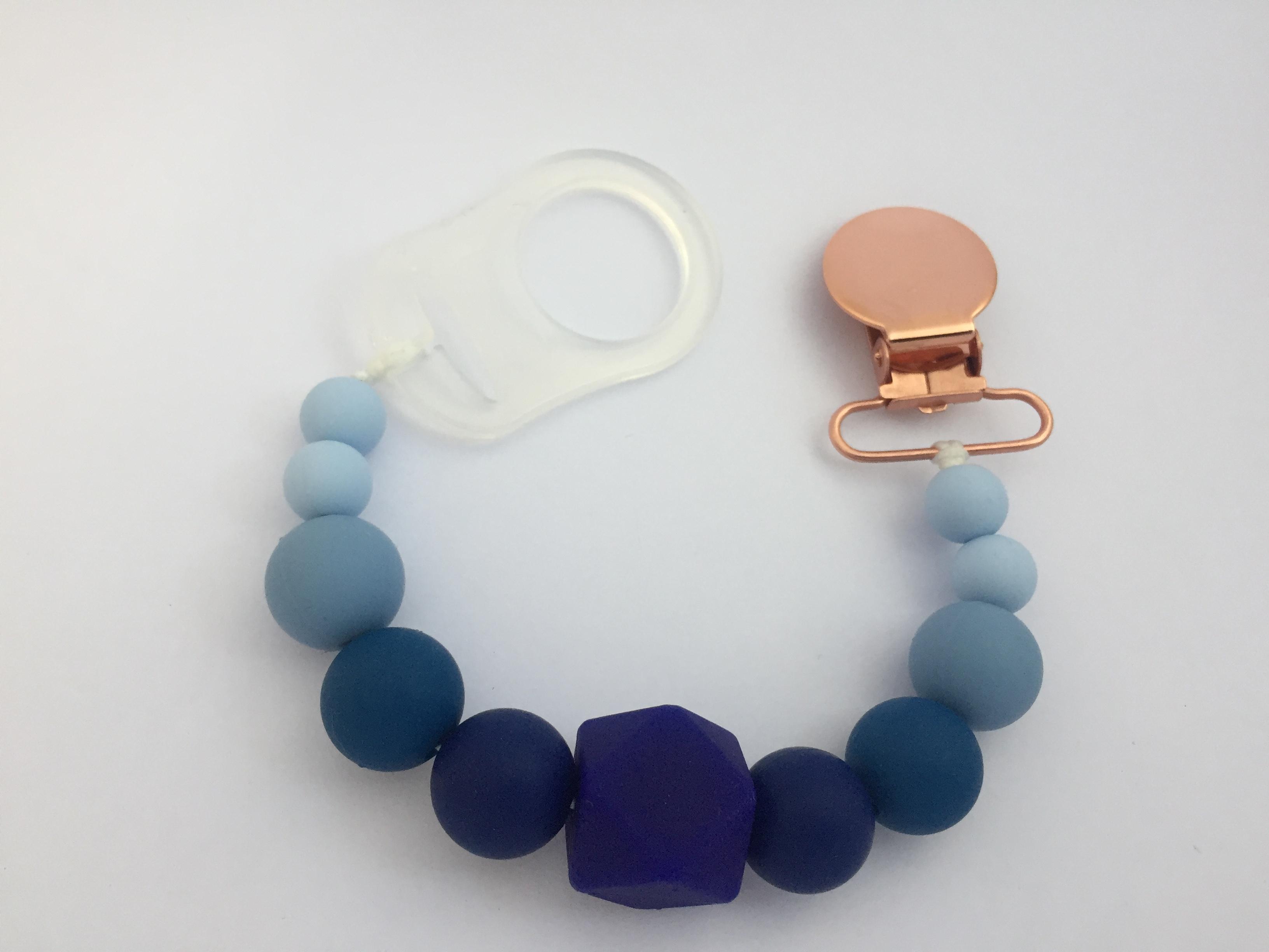 Attache tétine sensoriel dégradé bleu