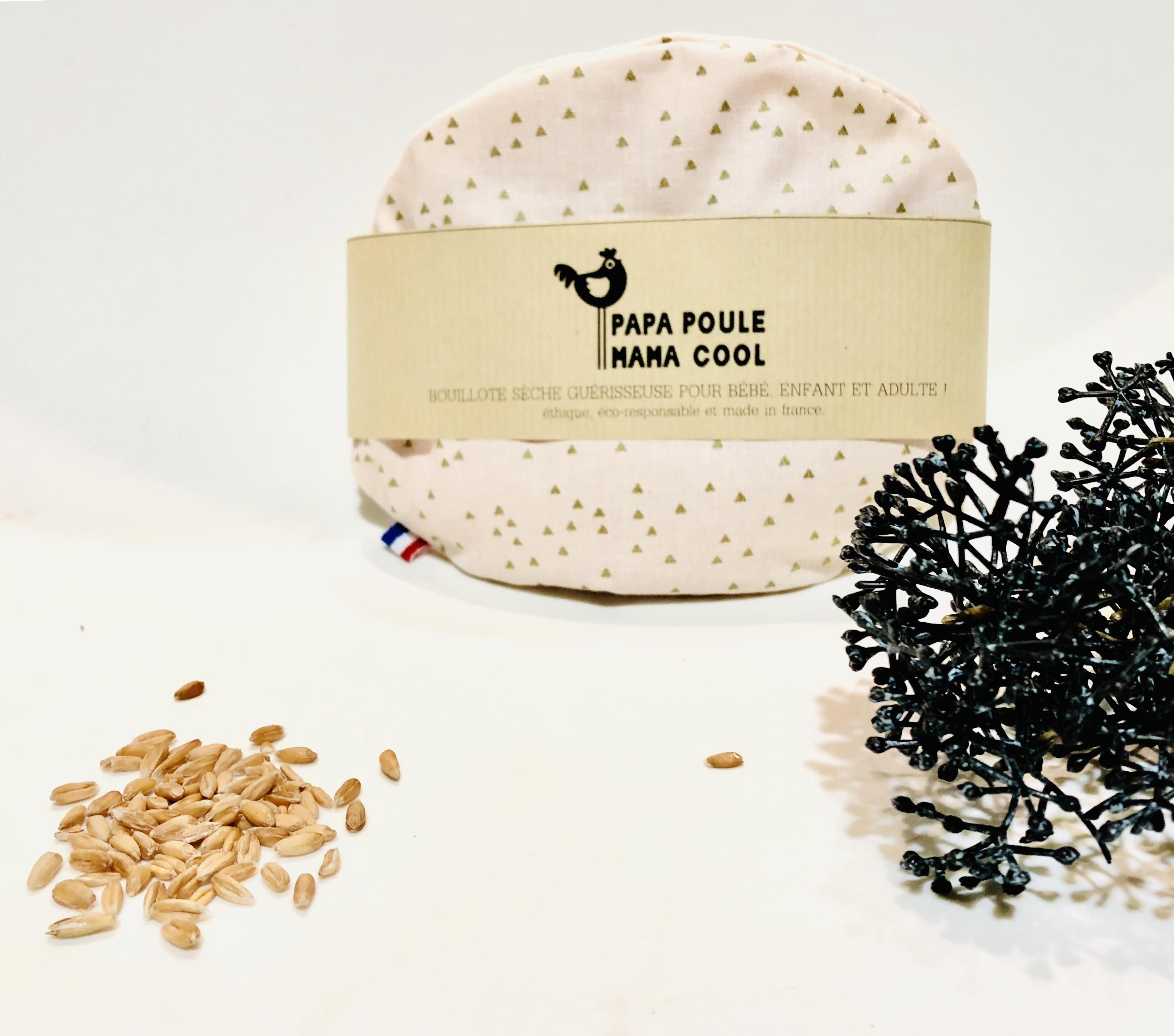 Bouillotte sèche aux graines d'épeautre bio Française et motif triangle doré