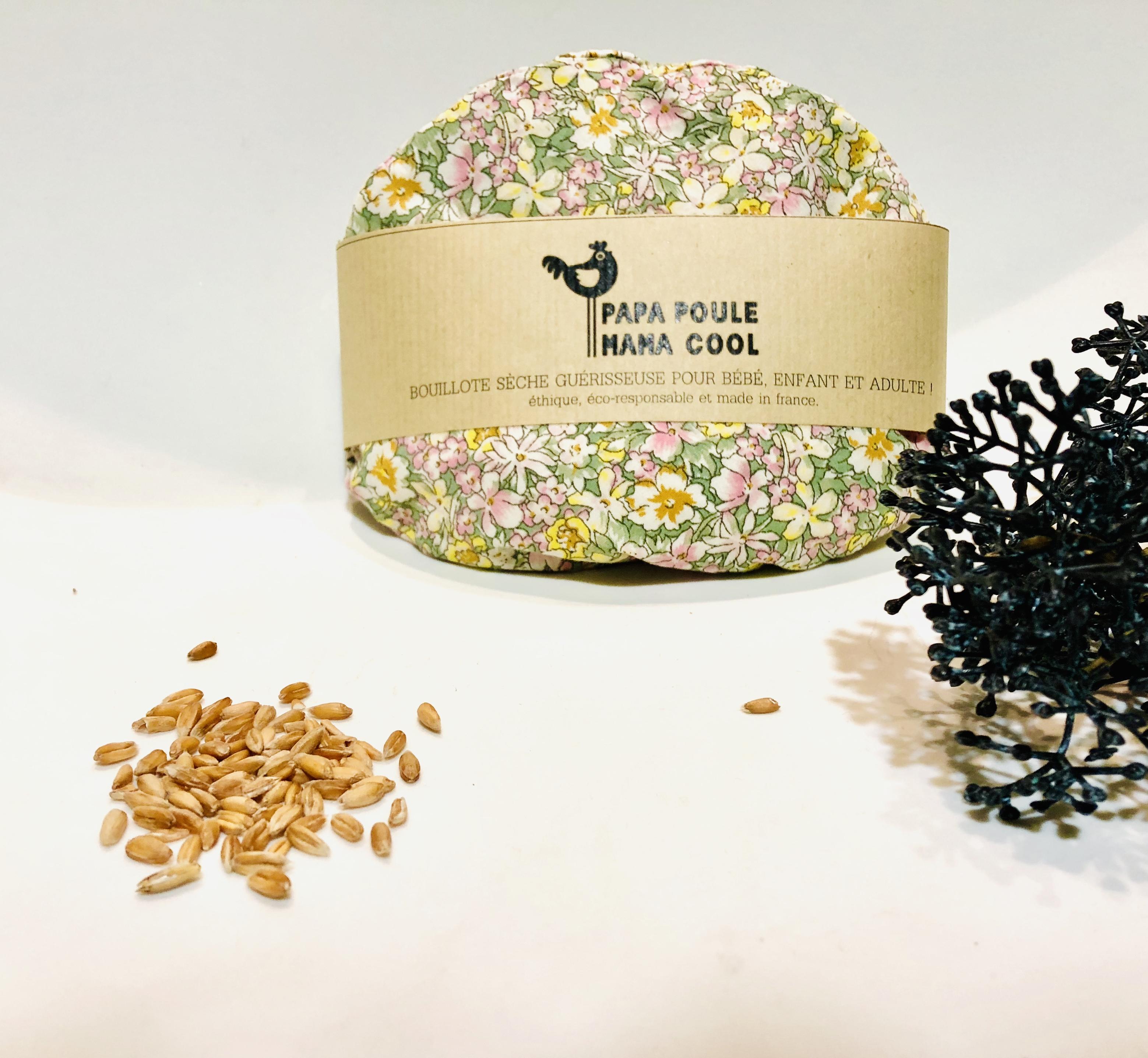 Bouillotte sèche aux graines d'épeautre bio Française et motif fleuri