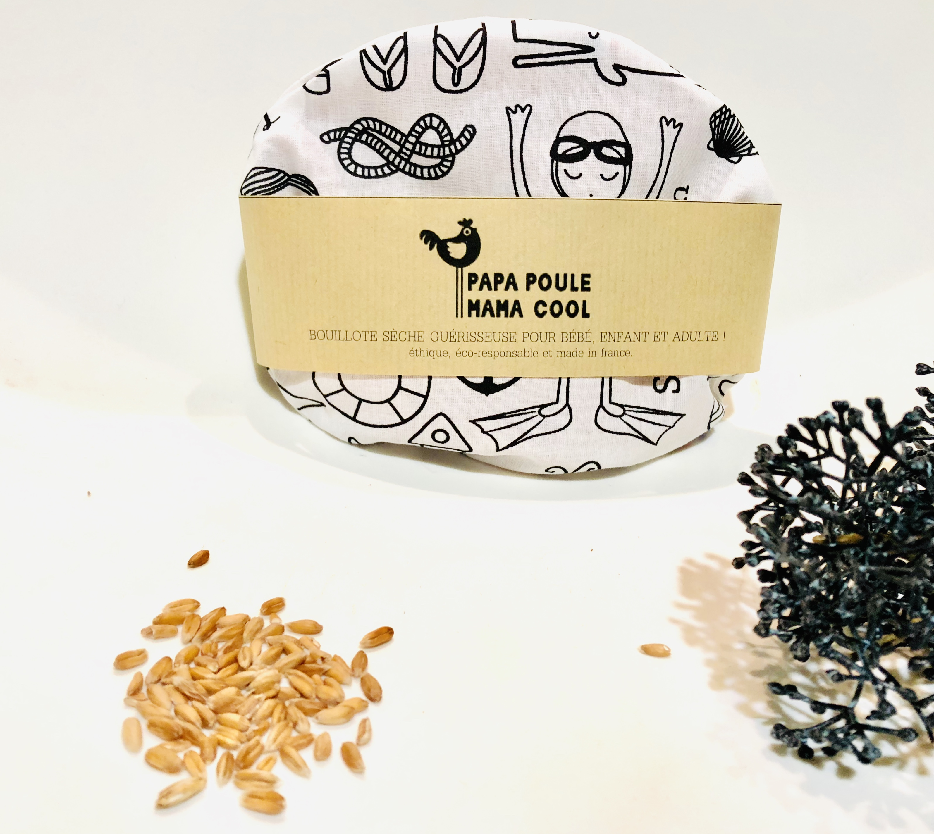Bouillotte sèche aux graines d'épeautre bio Française et motif à colorier