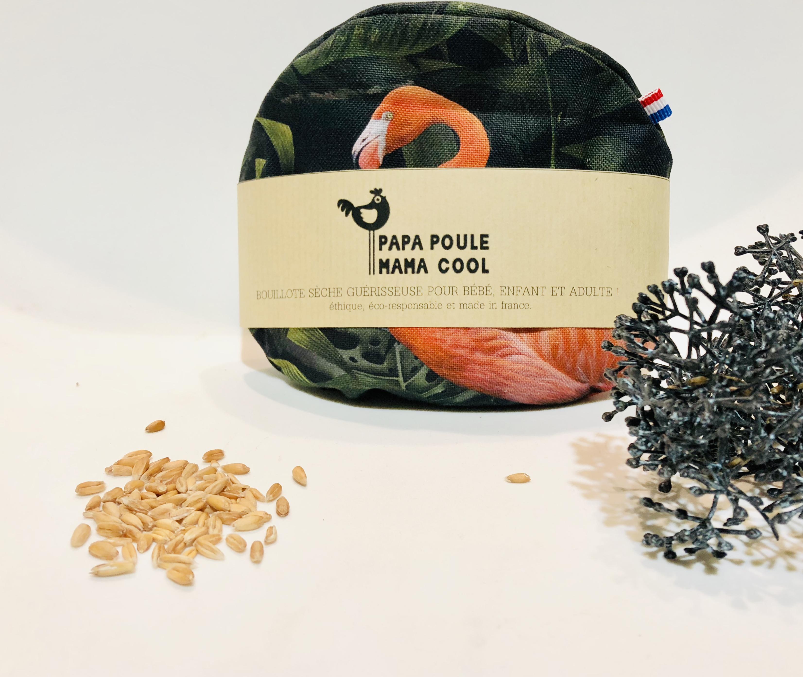 Bouillotte sèche aux graines d'épeautre bio Française et motif sauvage des lacs