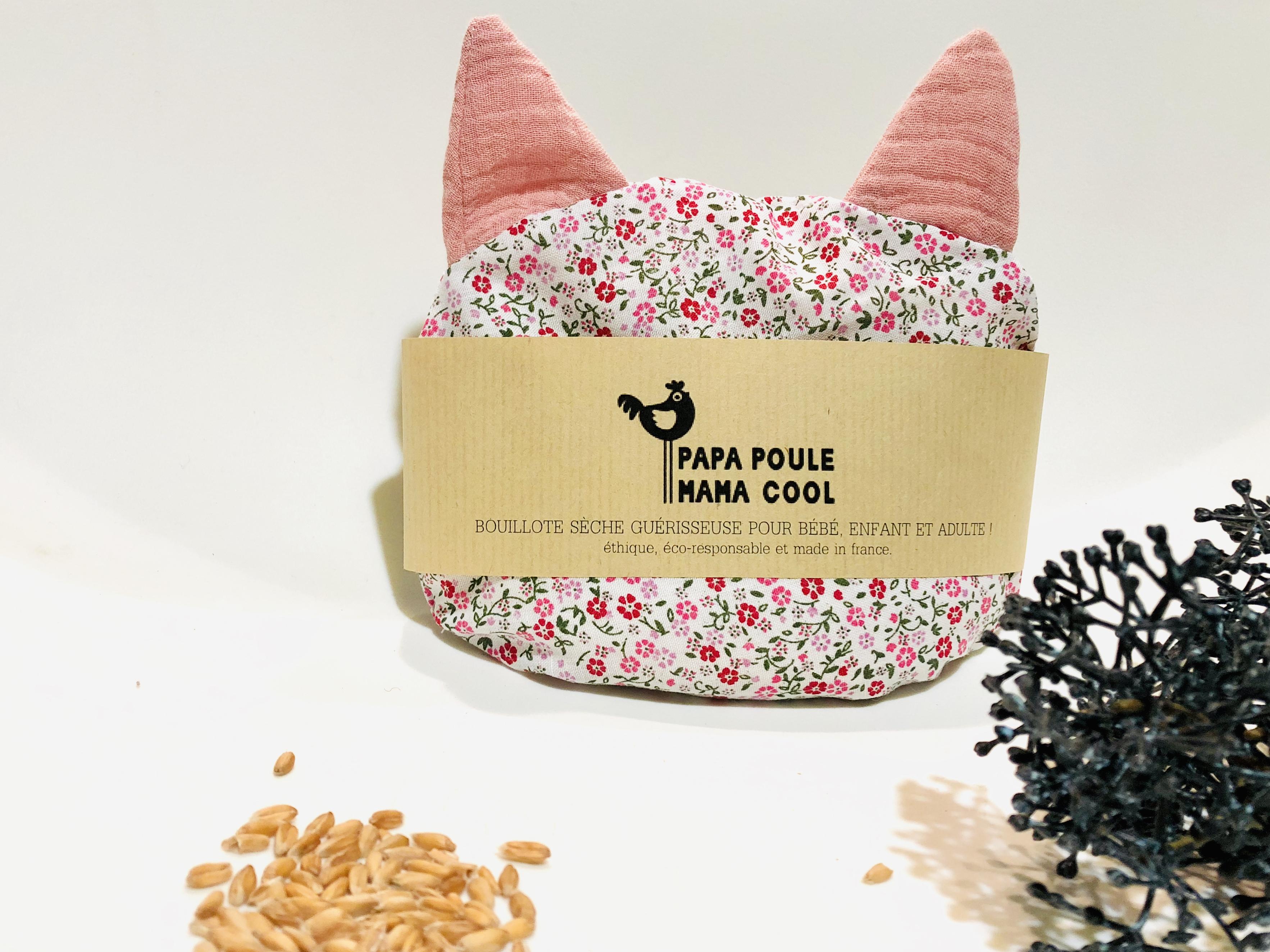 Bouillotte sèche aux graines d'épeautre bio Française et motif petit chat fleuri